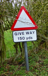 Give Way road sign in Wark Village, Carham parish