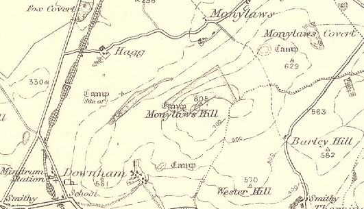 Iron Age settlements in Carham parish, Northumberland, are shown on this old Ordnance Survey map