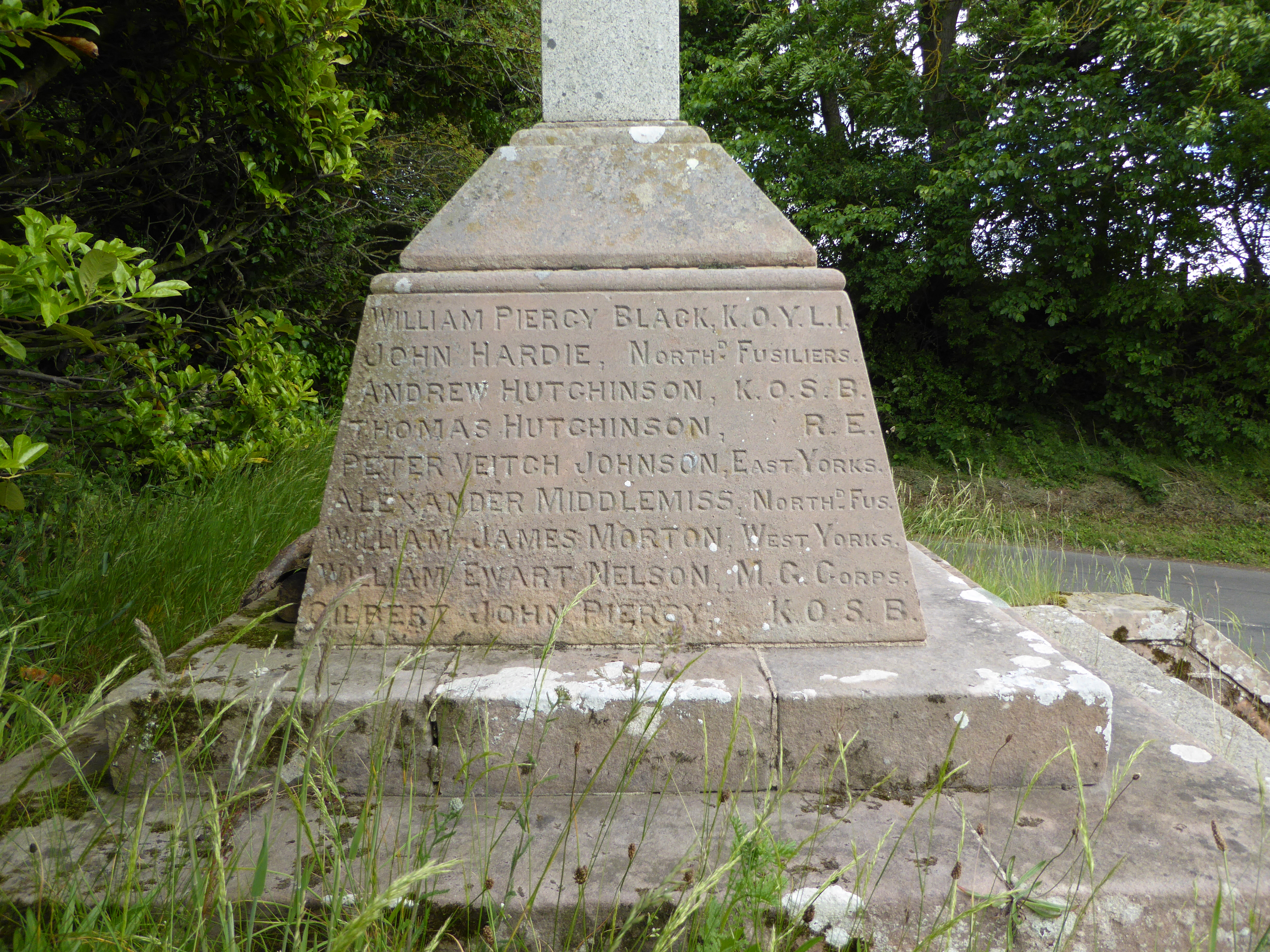 The inscription on the west-facing side of Carham War Memorial lists the names of those who died in the First World War