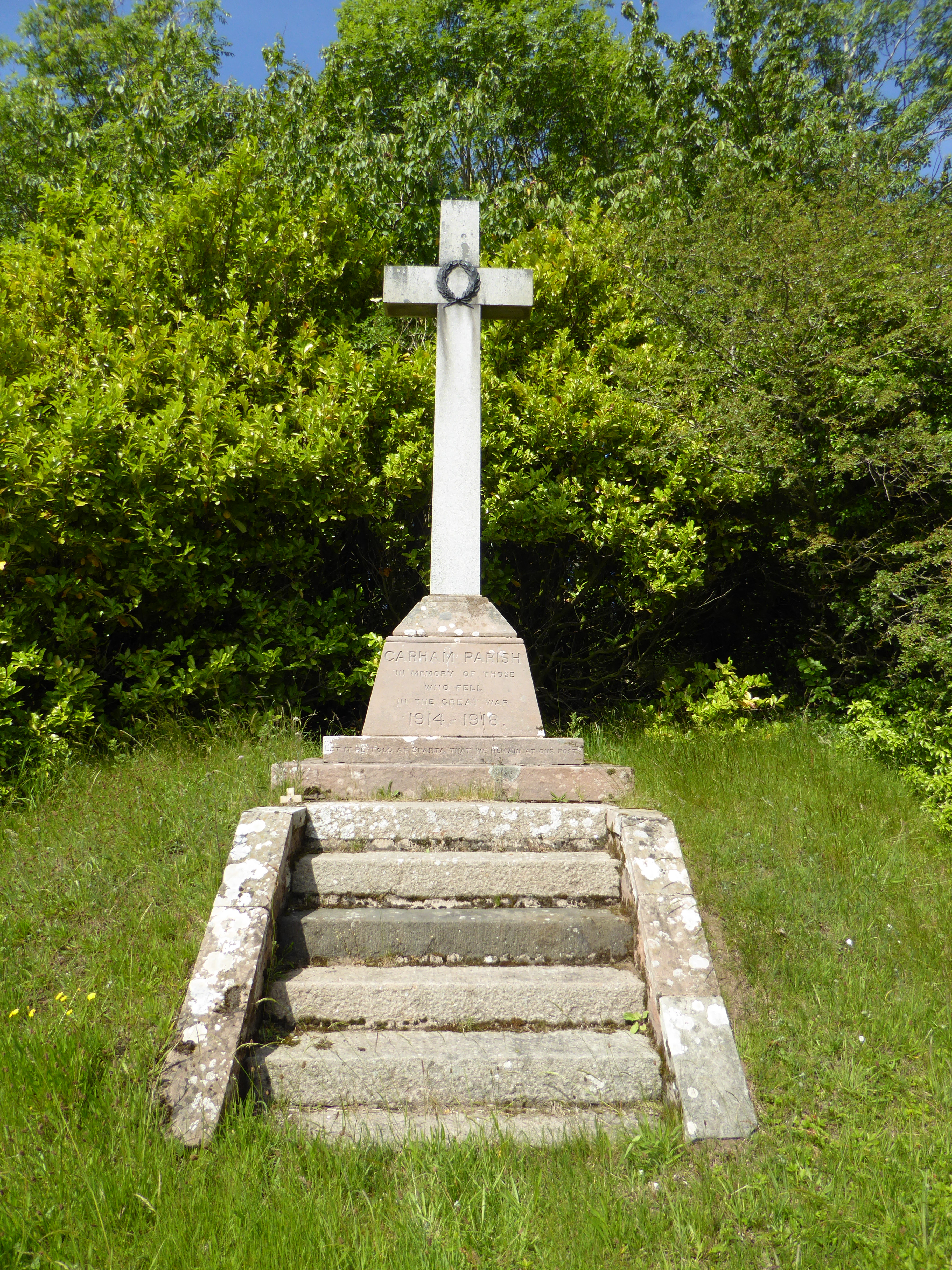 Carham War Memorial at East Learmouth is in the form of a latin cross on a plinth